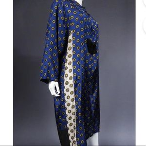 Dries Van Noten Blue Print Geometric Silk Tunic M